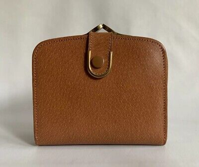Tan Leather 1950s Vintage Coin Purse Mini Wallet Tan Leather Lining