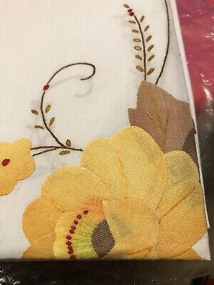 Vintage 72 X 90 Hand Decorated Linen Tablecloth Fall Colors on White