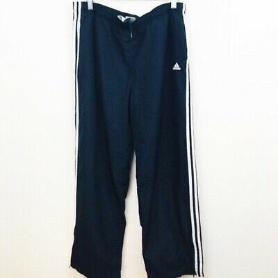 Adidas Women's Athletic Pants Navy Blue White Stripe Ankle Zip Large