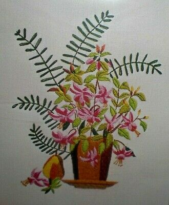 Vtg Valiant PINK FLOWERS Jacobean Crewel Wool Floral Embroidery Kit Lilies Lily