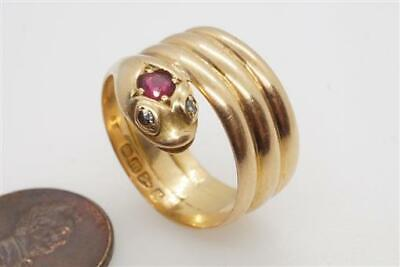 ANTIQUE LATE VICTORIAN ENGLISH 18K GOLD RUBY & DIAMOND COILED SNAKE RING c1893