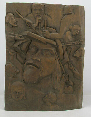 Mid Century Modern BIG Stele Wood Slab Carving Christ Living Crown of Thorns yqz