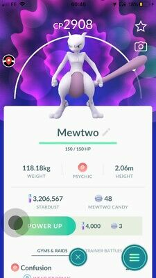 Pokemon Go MewTwo (exclusive Psystrike Move, Weather Boosted)