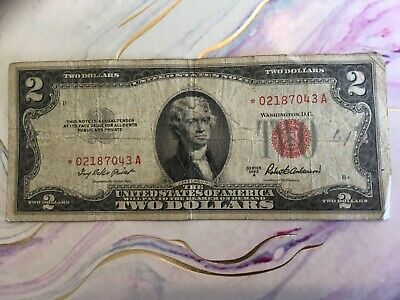 1953 A Red seal Note $2.00 Two Dollar Bill US Currency Red STAR *02187043A