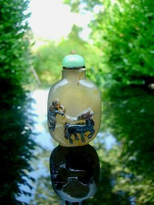 A Nice Antique Chinese Carved Cameo Agate Snuff Bottle And Jade Stopper