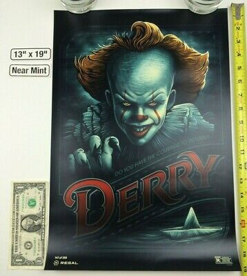 IT Chapter Two Derry Is Calling 13 x 19 Poster Regal Pennywise 2019 King Georgie