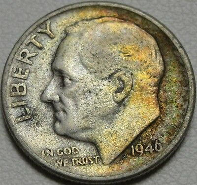 1946 10C Roosevelt Dime, Toned, 90% Silver, #10198