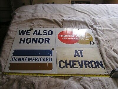 Vintage Porcelain Chevron Gas  Credit Cards  Advertising Sign Double Sided