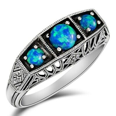 1CT Natural Blue Fire Opal 925 Solid Sterling Silver Ring Jewelry Sz 8