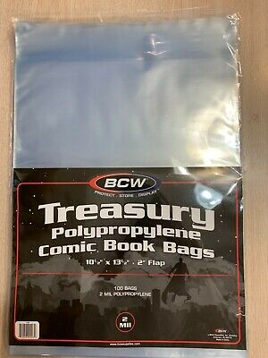 """(10) BCW TREASURY COMIC BOOK BAGS 10 1/2 x 13 1/2 with a 2 """" flap"""