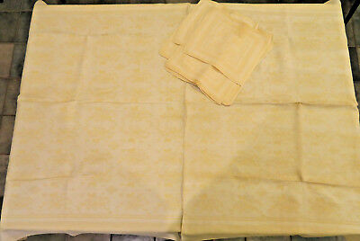 "Vintage  Damask Tablecloth + 12 Napkins    Yellow and White  ~ 78"" x 48"""