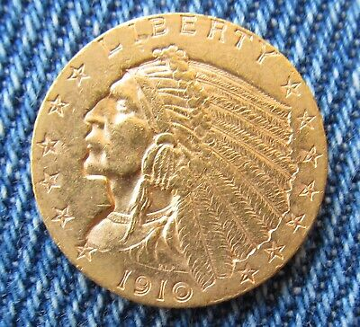 USA 1910-P Indian Head Gold $2.50   Well Struck & Genuine Guaranteed Milled Edge