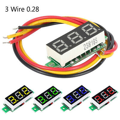 "3 Wire 0.28"" DC 0-100V Voltmeter LED Panel Digital Display Voltage Meter Car LCD"