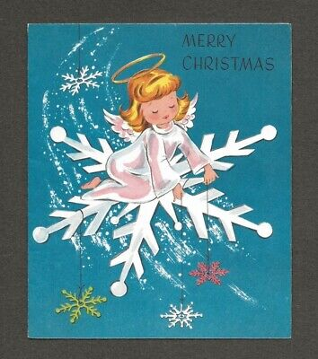 UNUSED '50s ANGEL on Large SNOWFLAKE, Candy Cane Vtg. Christmas Card