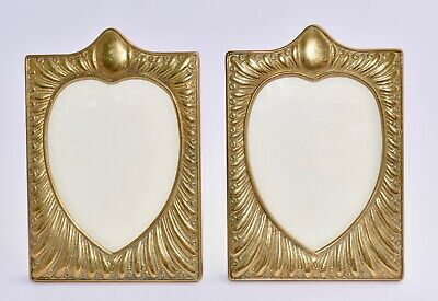 Superb Pair of Antique Brass Photos Frames - Repousse Teardrop / Heart Shape