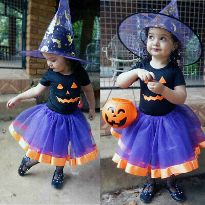 Toddler Kids Baby Girl Halloween Clothes Tops Shirt Tutu Dress Outfit Costume