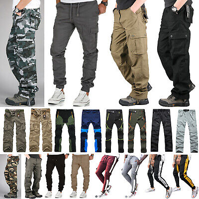 Mens Combat Work Security Multi Pocket Pants Slim Fit Autunm Gym Casual Trousers