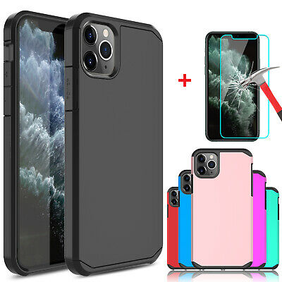 For iPhone 11 Pro Max Shockproof Case Cover With Tempered Glass Screen Protector