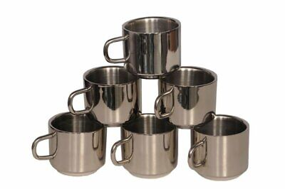 Stainless Steel Coffee Tea Mug 6 PCs Cup Set 100 ml Capacity Kitchen Item Table