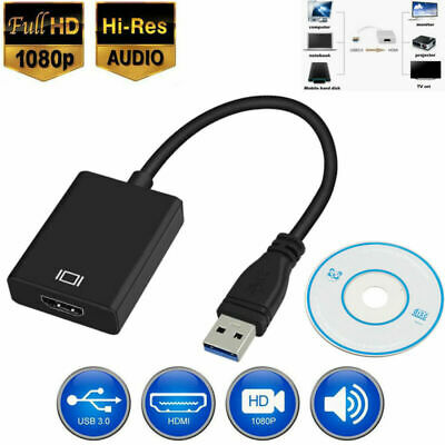 New USB 3.0 To HDMI Adapter Video Cable Adapter Converter For Windows 7/8/10 PC