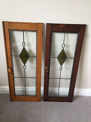 2 x Antique Leaded Glass Windows / Cupboard Doors