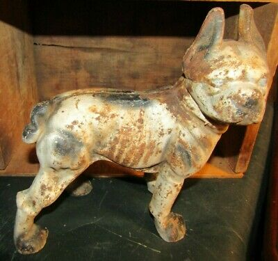 "Antique Cast Iron Hubley Boston Terrier Right Facing Dog Door Stop-9"" Tall"