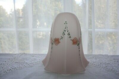 Very Pretty Little 1930's Glass Lamp Shade 16 cm tall Pink Floral Excellent 1