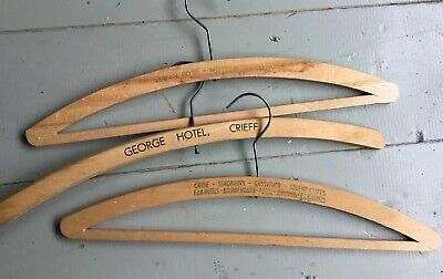 3x Vintage Wooden Clothes Coat Trouser Hangers Advertising