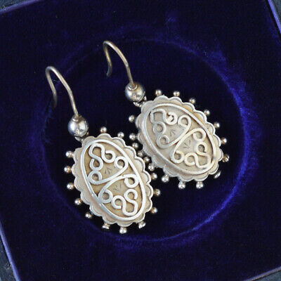 Antique Victorian Sterling Silver Ball decoration earrings Hooks