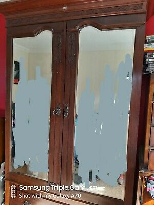 Antique Edwardian Double Mirrored Wardrobe Splits Into  Sections.