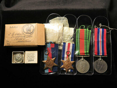 WWII Group of 4 Medals to Mr A. Frost RE plus Kings Badge