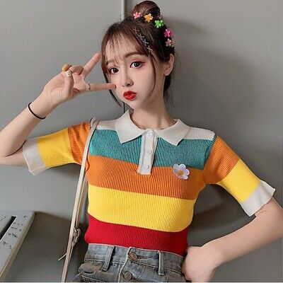 Fashion Women Rainbow Striped Pattern Lapel Knitted Short Sleeve T-shirt Casual