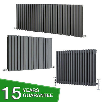 Anthracite Horizontal Designer Radiator - Flat Panel Oval Column Cast Iron Style