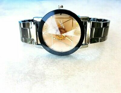 Orologio Acciaio Inox Donna Argento Silver Woman Watch Stainless Steel Beige New