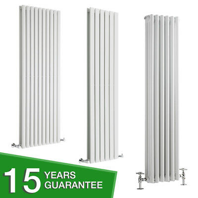 White Vertical Designer Radiator - Flat Panel Oval Column & Cast Iron Style NEW