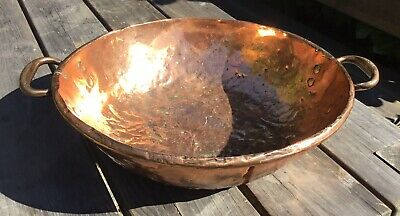 "Large Antique Copper Late 19th Early 20th Century Jam Pan 15.5"" Old Repairs"