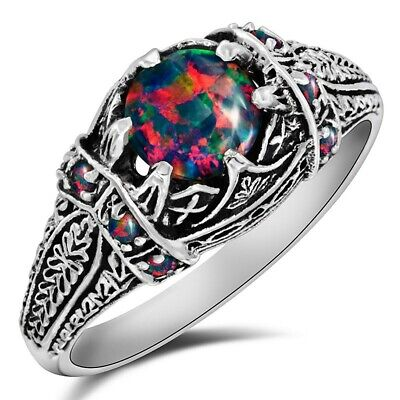 2CT Natural Red Fire Opal 925 Sterling Silver Filigree Ring Jewelry Sz 9, FL16