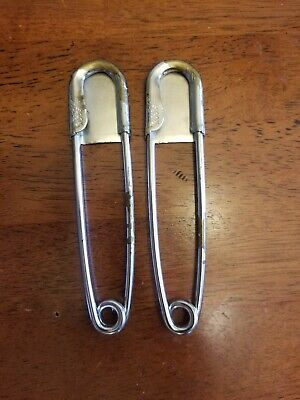 Two Vintage 5in Risdon Steam Punk Key Tag Safety Pin Horse Blanket Pin Laundry