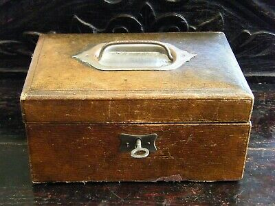 Antique-Victorian-Leather Clad Small Jewellery/Trinket Lock Box With Key-c1890
