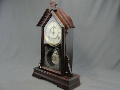 Antique Waterbury Clock Company Mantel Shelf Kitchen Clock 8-Day Working Strike