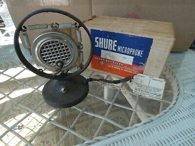 VINTAGE  ANTIQUE SHURE CARBON SPRING  MICROPHONE with Box