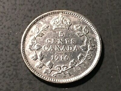1916 Canada Five Cent Silver - Appears To Have Mint Lustre ~