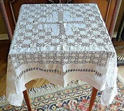 Vintage Handmade Square White Drawn Fabric Tablecloth