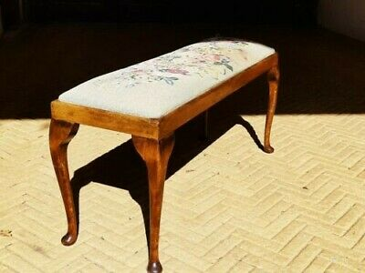 Antique English Edwardian Queen Anne Style Mahogany Upholstered Piano Duet Stool