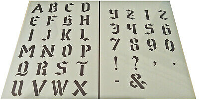 Numbers letter Alphabet plastic stencil 37-39mm (H) vintage shabby chic Gothic