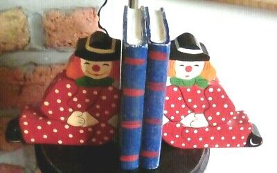 Vintage Wooden Children's Clown Bookends Hand Painted