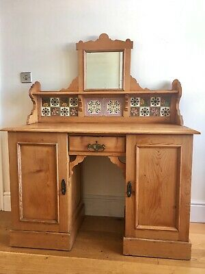 Beautiful Antique Victorian Old Pine Tiled Dressing Table