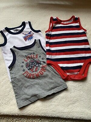 Garanimals Boy Tank Tops Size 24 Months Patriotic Bodysuit Lot of 3 EUC