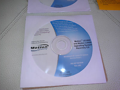 Microsoft Windows XP Tablet Motion Computing Drivers Utilities Recovery LE1600