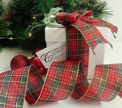 New Tartan Ribbon Christmas Xmas Wire Edged Red Green Gold Decoration 'Perth'